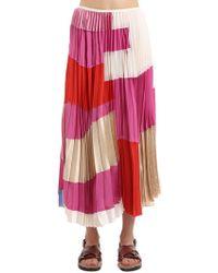Marni - Patchwork Plisse Crepe Midi Skirt - Lyst