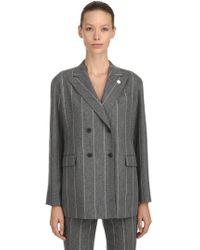 Lardini - Double Breasted Wool Pinstripe Jacket - Lyst