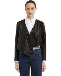 AALTO Cropped Leather Bolero Jacket - Black