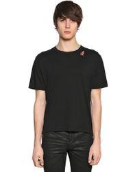 Saint Laurent | Slow Kissing Cotton Jersey T-shirt | Lyst