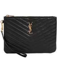 Saint Laurent Monogram Quilted Leather Pouch in Black - Lyst 05a9bcde92396