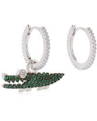 Apm Monaco - Green Croco Hoop Earrings W/ Charm - Lyst