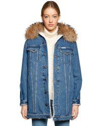 Forte Couture - Fur Collar Denim & Faux Shearling Coat - Lyst
