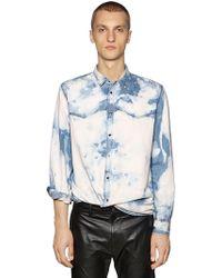 DIESEL - Bleached Cotton Denim Western Shirt - Lyst