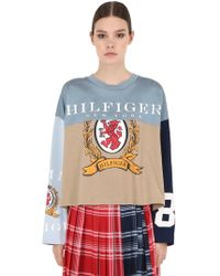 Tommy Hilfiger - Long Sleeve Cropped Cotton T-shirt - Lyst