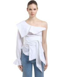 Jonathan Simkhai | One Shoulder Cotton Oxford Top | Lyst
