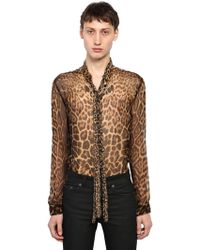 Saint Laurent - Camicia In Seta Leopard - Lyst