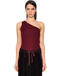 Nina Ricci - One Shoulder Wool Rib Knit Top - Lyst