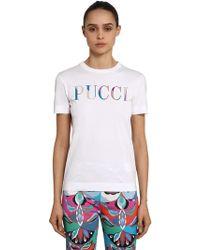 Emilio Pucci - Logo Printed Cotton Jersey T-shirt - Lyst