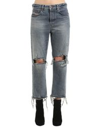 DIESEL - Mid Rise Destroyed Straight Leg Jeans - Lyst