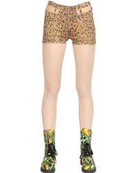 Jeremy Scott - Leopard Print Washed Cotton Denim Shorts - Lyst