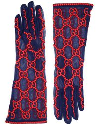 Gucci - Gg Supreme Embroidered Tulle Gloves - Lyst