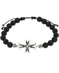 Cantini Mc Firenze - Cross Onyx Bracelet - Lyst