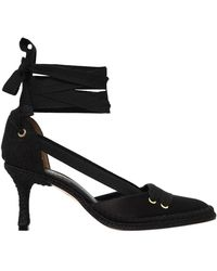 Manolo Blahnik - 70mm Manolo Night Satin Lace-up Court Shoes - Lyst