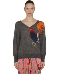 Stella Jean - Woman Intarsia-knit Jumper Dark Grey - Lyst