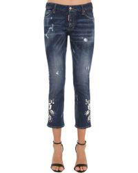DSquared² - Mirror Embellished Cotton Denim Jeans - Lyst