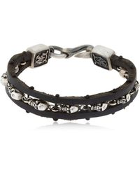 Cantini Mc Firenze - Skulls Silver & Leather Bracelet - Lyst