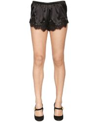 Dolce & Gabbana - Silk Satin Shorts W/ Lace Trim - Lyst
