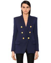 Balmain - Double-breasted Wool-twill Jacket - Lyst