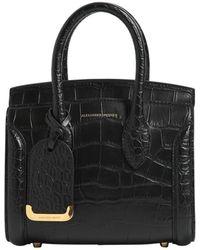 Alexander McQueen - Small Heroine Croc Embossed Leather Bag - Lyst