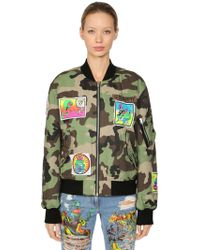 Jeremy Scott - Camo Print Cotton Bomber Jacket - Lyst