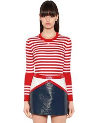 Courreges   Striped Stretch Cotton Rib Knit Sweater   Lyst