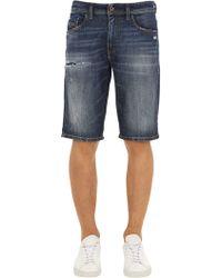 DIESEL - Distressed Cotton Denim Shorts - Lyst