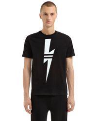Neil Barrett - Printed Bolt Cotton Jersey T-shirt - Lyst