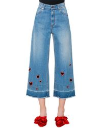 Vivetta | Embroidered Heart Cutouts Denim Jeans | Lyst