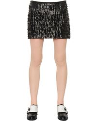 Karl Lagerfeld | Fringed Faux Leather & Jersey Skirt | Lyst