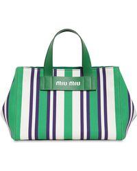 Miu Miu - Medium Striped Canvas Tote Bag - Lyst
