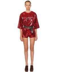 Philosophy Di Lorenzo Serafini - Oversized Logo Printed T-shirt W/sequins - Lyst