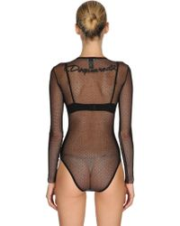 DSquared² - Body De Tul Stretch Transparente Con Logo - Lyst