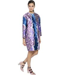 Peter Pilotto - - Printed Silk-twill Coat - Teal - Lyst