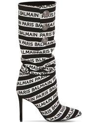 Balmain - 95mm Jane Logo Slouchy Fabric Boots - Lyst