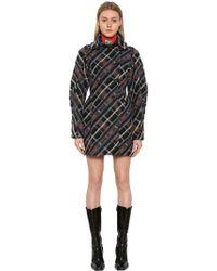 KENZO - Plaid Wool Blend Cocoon Coat - Lyst
