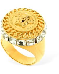 Versace Strass Medusa Round Ring - Multicolour