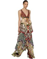 DSquared² - Embellished Printed Silk Chiffon Gown - Lyst