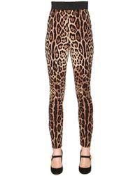 Dolce & Gabbana | Leopard Stretch Silk Cady Leggings | Lyst
