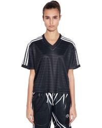 Alexander Wang - Aw Printed V Neck Cropped T-shirt - Lyst