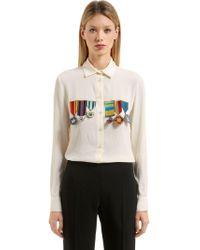 Stella Jean - Embellished Silk Blend Shirt - Lyst