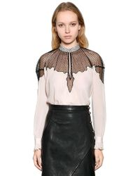 Just Cavalli - Viscose Crepe Shirt With Sheer Panel - Lyst