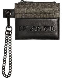 DIESEL - Logo Leather & Denim Card Holder - Lyst