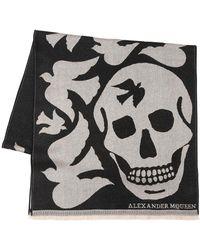 Alexander McQueen - Oversized Skull & Doves Wool Scarf - Lyst
