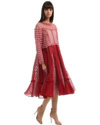 Valentino - Ruffled Lace & Cotton Organdy Dress - Lyst