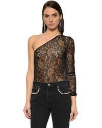 MSGM - One Sleeve Lace Bodysuit - Lyst