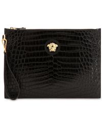 Versace - Medusa Croc Embossed Leather Pouch - Lyst
