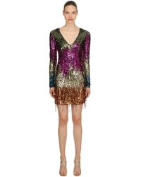 Amen - Sequined V Neck Mini Dress - Lyst