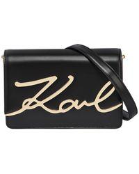 Karl Lagerfeld - K/metal Signature Leather Shoulder Bag - Lyst