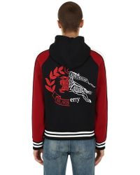 Burberry - Embroidered Modal Jersey Zip-up Hoodie - Lyst